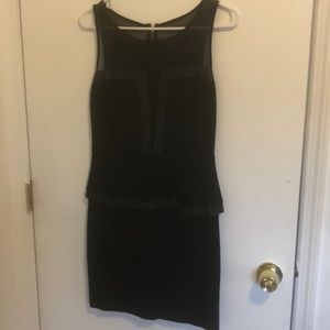 Sexy black sheer and leather dress from express
